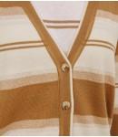 Кардиган мериносовый полосатый; с бежевым