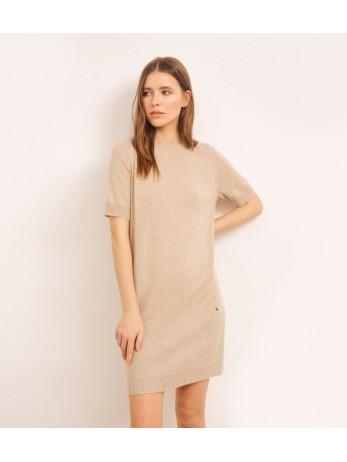 Платье кашемировое с люрексом по низу; светлый тауп