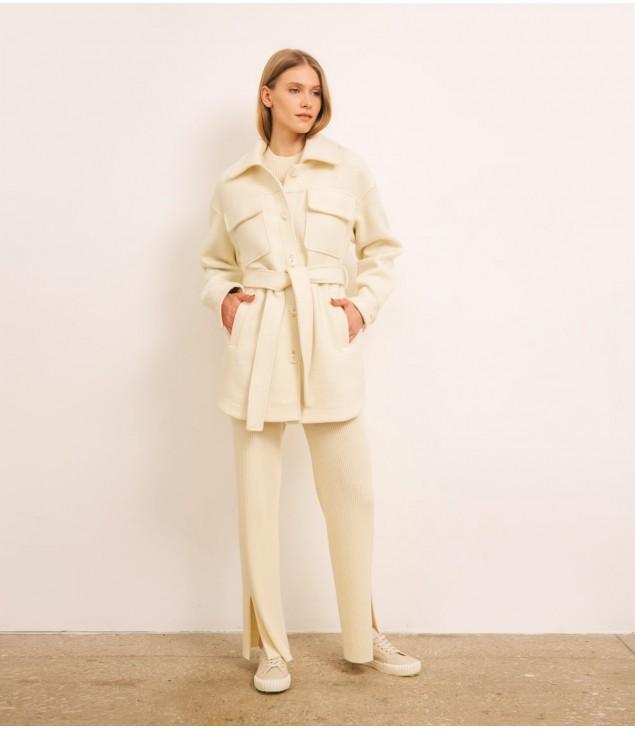 Пальто-рубашка кашемировое; молочный