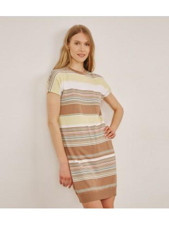 Платье полосатое с шелком; кэмел с желтым