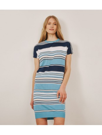 Платье полосатое с шелком; тиффани с темно-синим