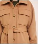 Пальто-рубашка кашемировое; кэмел