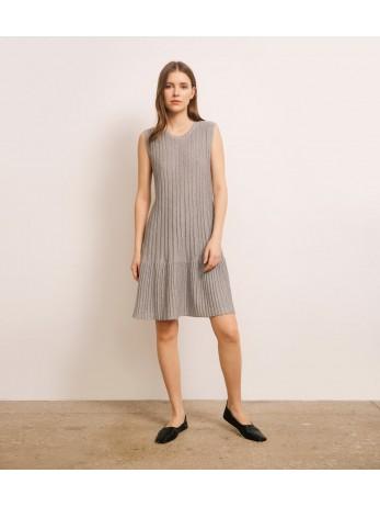 Платье люрекс с баской; серый
