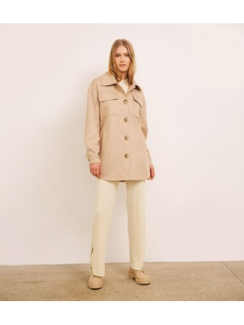 Пальто-рубашка кашемировое; песок