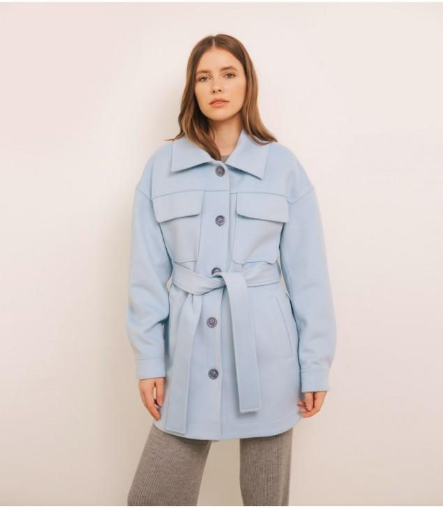 Пальто-рубашка кашемировое; голубое
