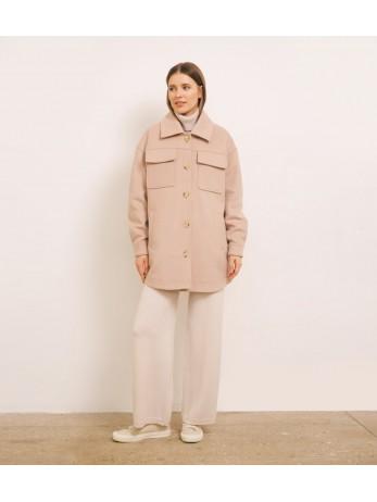 Пальто-рубашка кашемировое; пудра