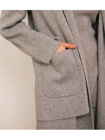 Кардиган с жилетом кашемировый; серый