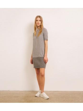 Платье кашемировое с люрексом по низу; серый