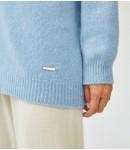 Кардиган кашемировый удлиненный плотный; голубой
