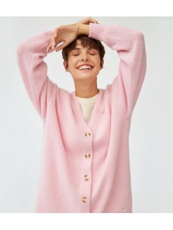 Кардиган кашемировый удлиненный плотный; розовый