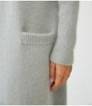 Кардиган ангоровый удлиненный с карманами; пыльная мята
