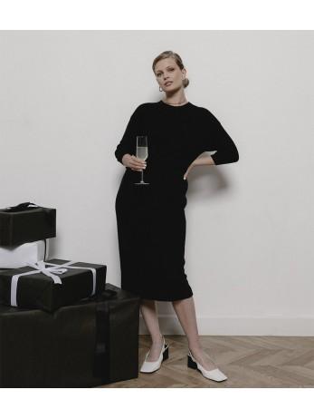 Платье кашемировое комбинированное; черный