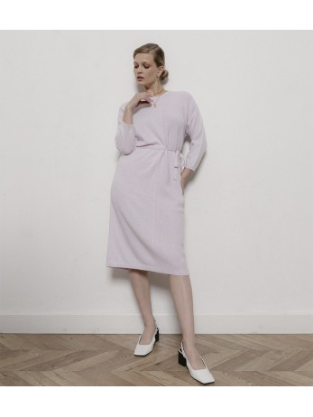 Платье кашемировое комбинированное; лаванда