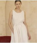 Платье ярусное с поясом; бежевый