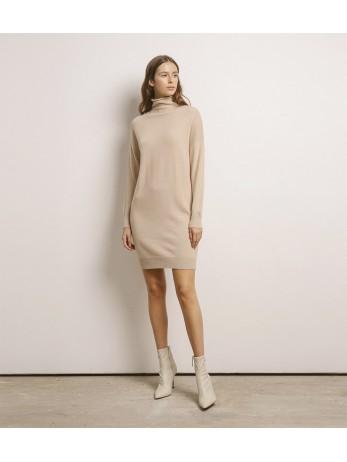 Платье кашемировое с хомутом; песочный