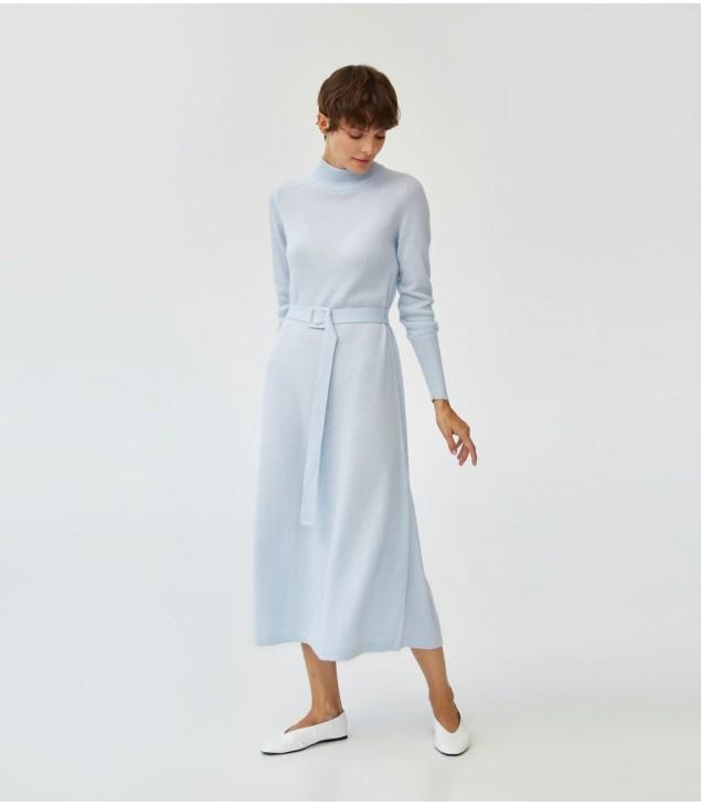 Платье кашемировое под пояс; голубой