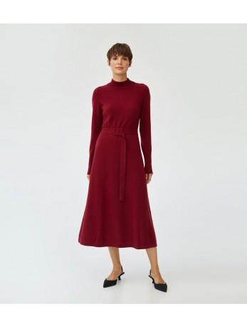 Платье кашемировое под пояс; бордовый