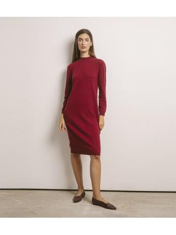 Платье кашемировое с длинным рукавом; бордо