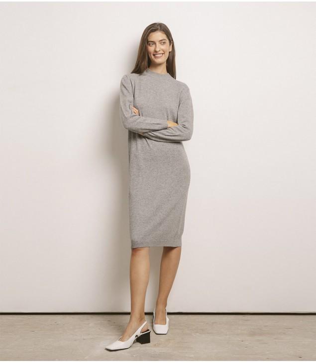 Платье кашемировое с длинным рукавом; серый