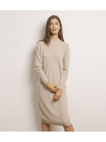 Платье кашемировое с длинным рукавом; светлый тауп