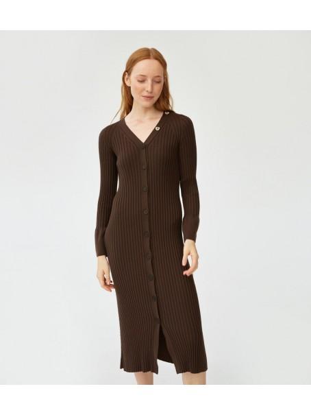 Платье мериносовое на пуговицах; горький шоколад
