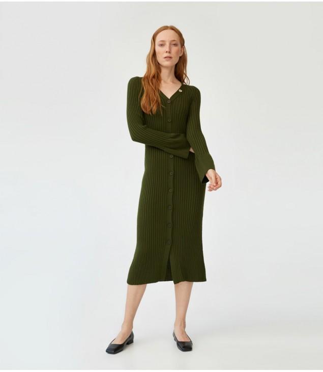 Платье мериносовое на пуговицах; светлая олива