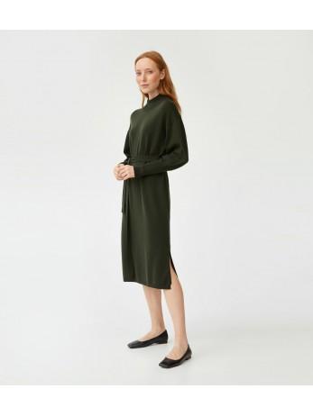 Платье мериносовое под пояс; олива