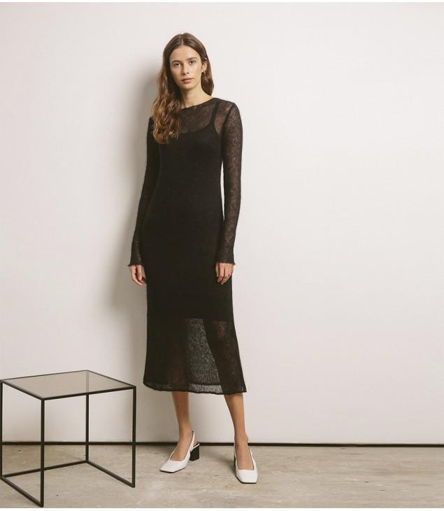 Платье мохеровое, черный