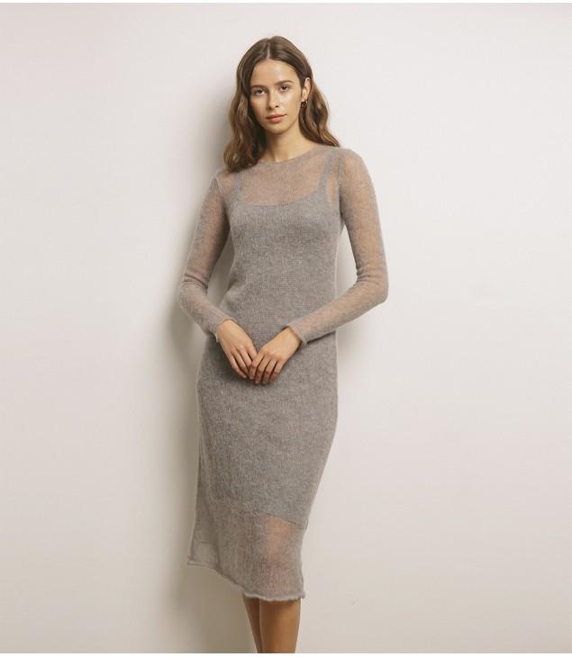 Платье мохеровое; серый