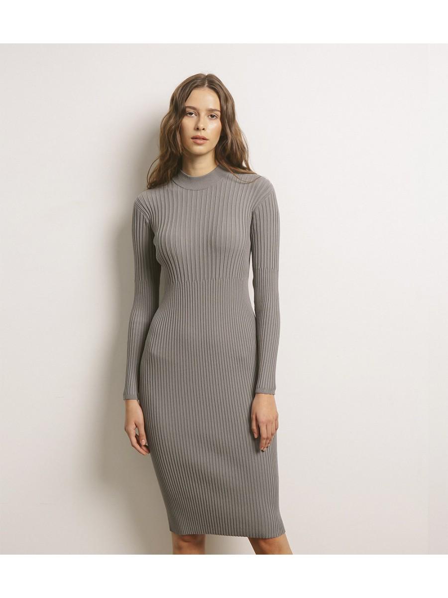 Платье стрейч в резинку; серый