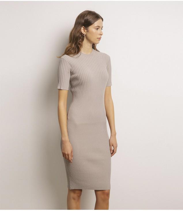 Платье стрейч в резинку; мокко