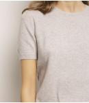 Джемпер кашемировый с коротким рукавом в резинку; серый