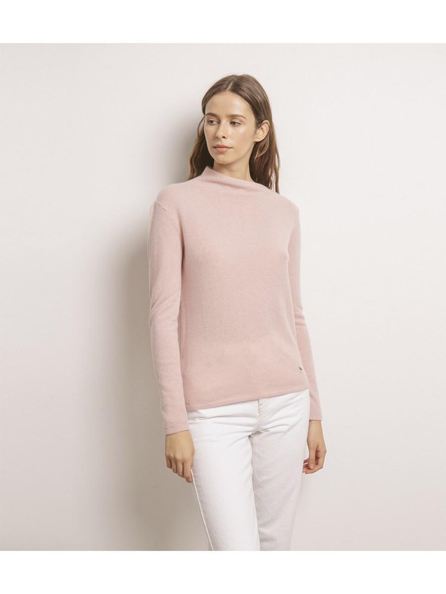 Джемпер 100% кашемир; лодочка асимметричная; розовый