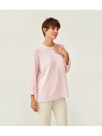 Джемпер кашемировый расширенный с карманом; розовый