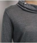 Джемпер мериносовый с шелком; серый меланж