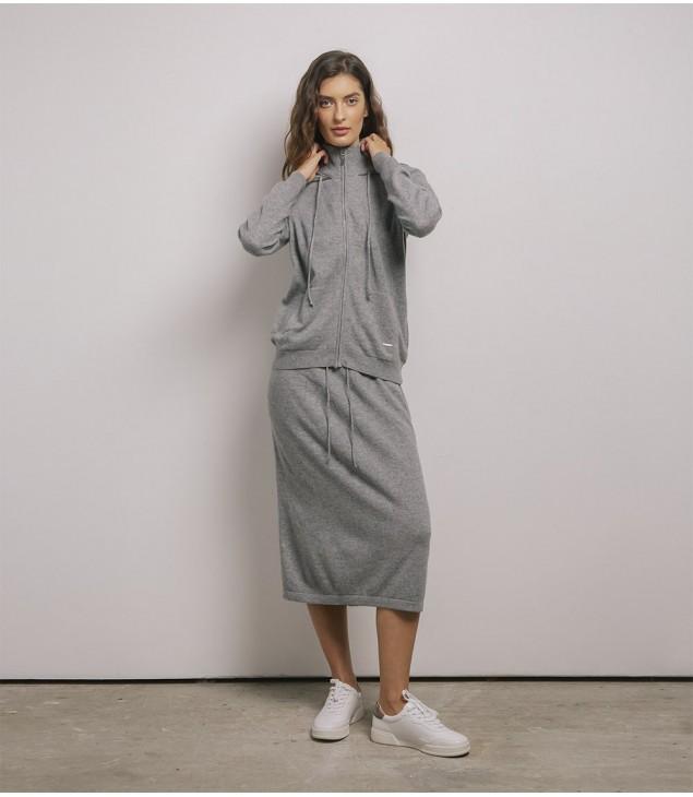 Юбка кашемировая на завязках; серый