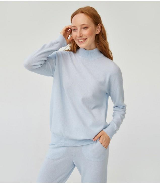 Джемпер кашемировый со стойкой к брюкам с завязками; голубой