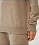 Джемпер кашемировый со стойкой к брюкам с завязками; тауп