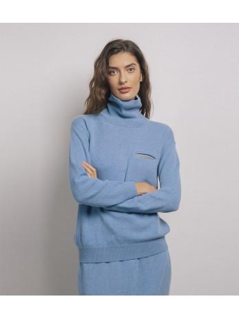 Джемпер кашемировый с украшенным карманом; темно-голубой