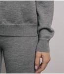 Джемпер мериносовый с капюшоном; серый