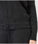 Джемпер из 100% премиального кашемира с завязками; серый меланж