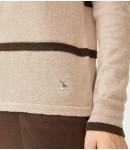 Джемпер мериносовый с полосками; тауп с коричневым