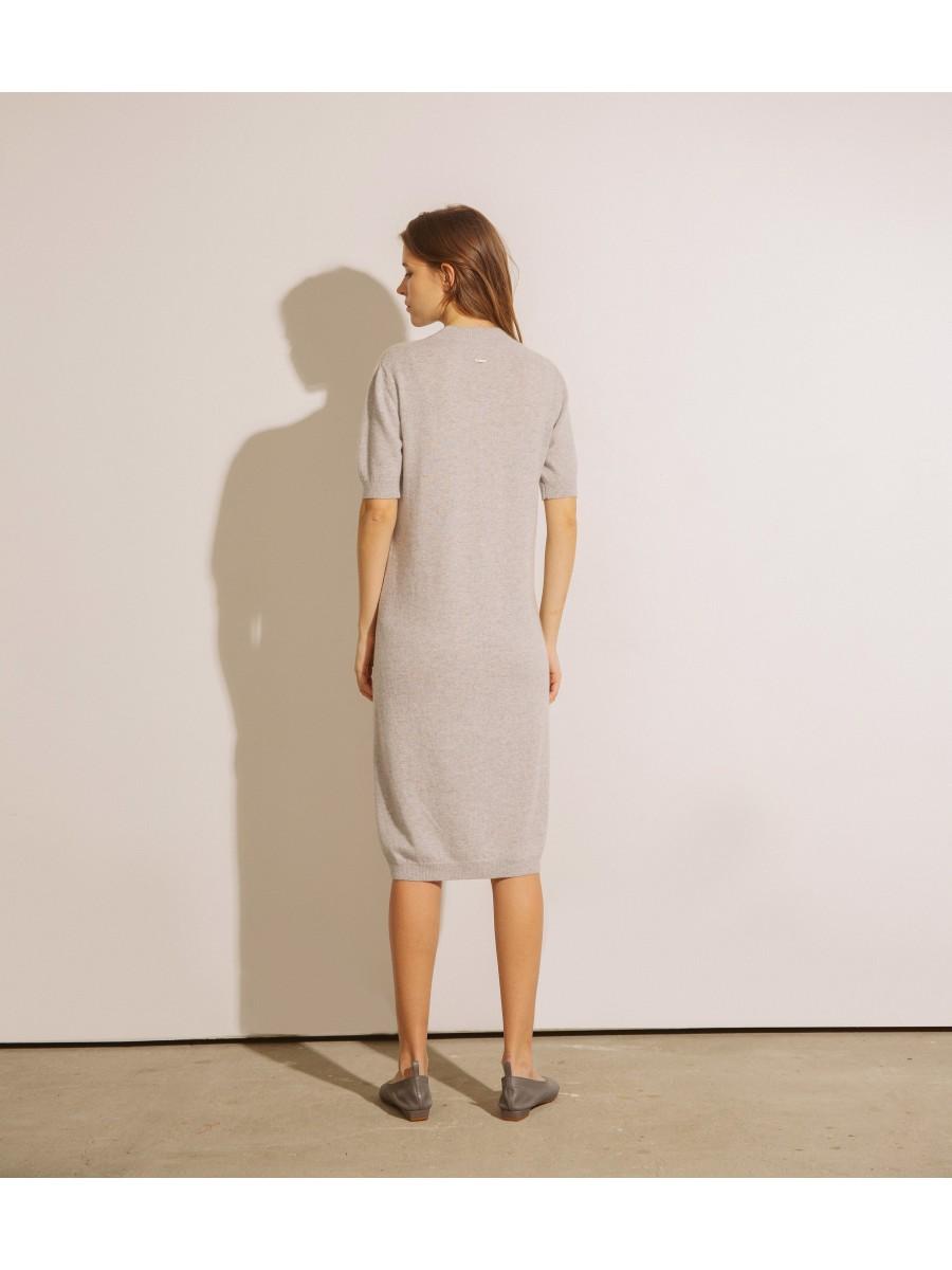 Сукня кашемірова з коротким рукавом;світло сіра