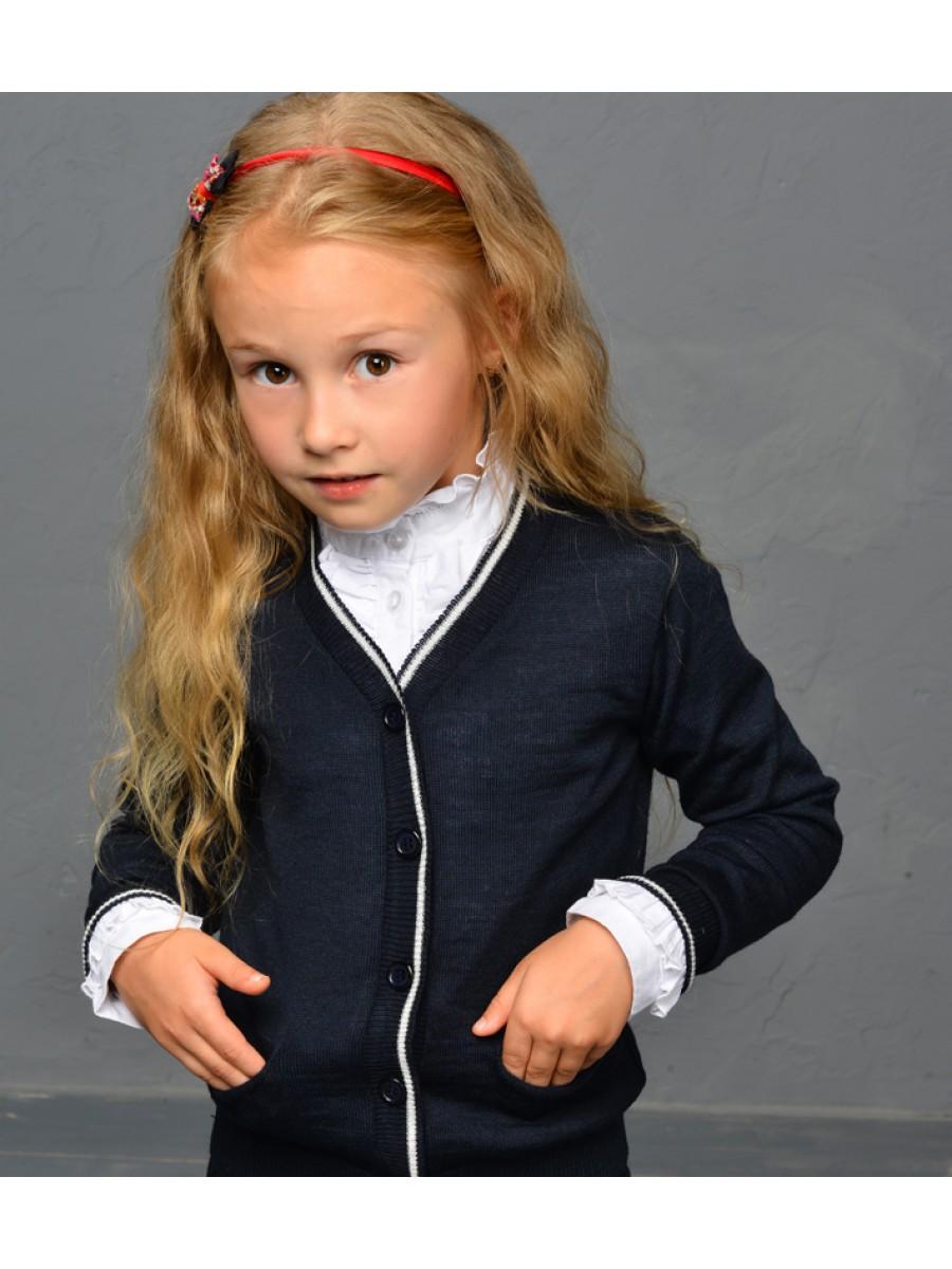 Кардиган шерстяной для девочки; синий