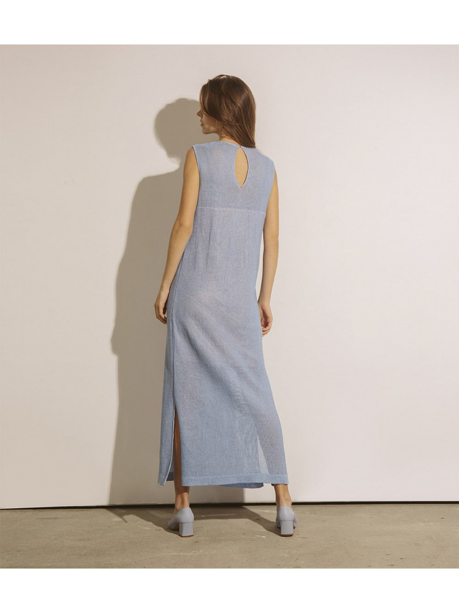 Сарафан з льону довгий;блакитний