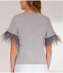 Топ с отделкой из перьев; серый