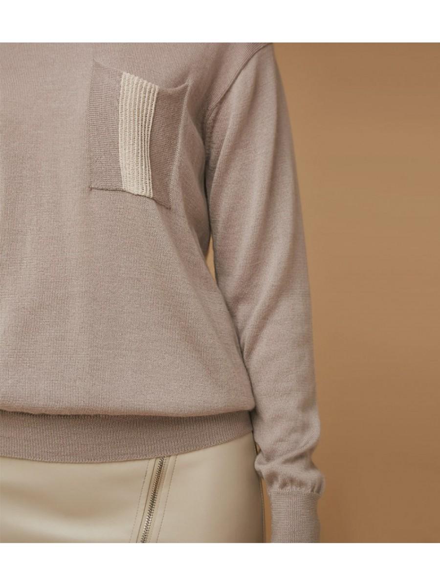 Джемпер с карманами; жемчужный