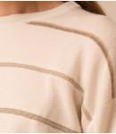 Джемпер кашемировый в полоску; молочный в бежевую полоску