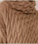 Джемпер Alpaca удлиненный с косами; олива меланж