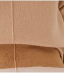 Джемпер удлинённый кашемировый с полосками; песочный